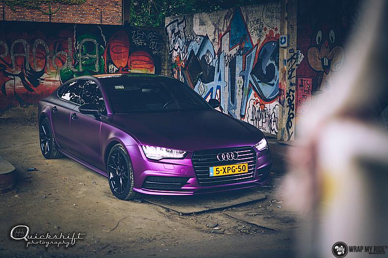 Audi A7 WMR purple grape, Carwrapping door Wrapmyride.nu Foto-nr:13638, ©2021