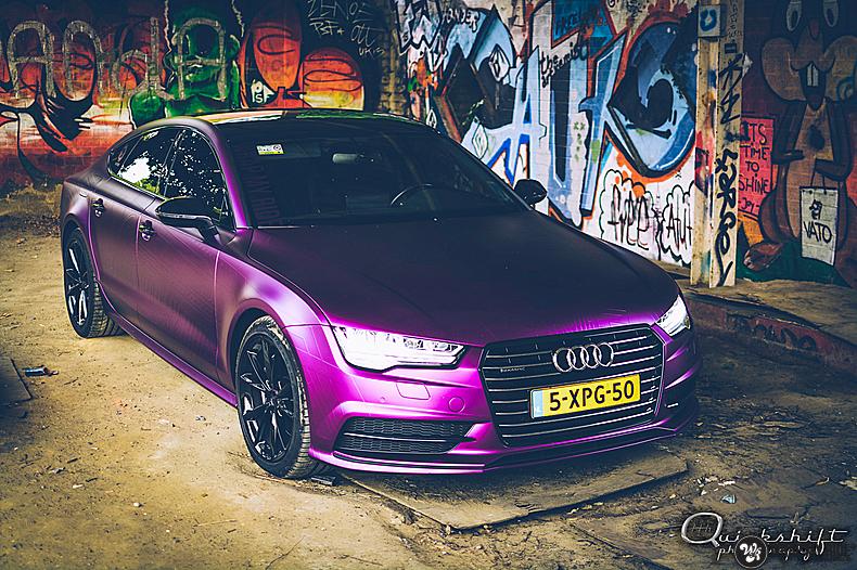 Audi A7 WMR purple grape, Carwrapping door Wrapmyride.nu Foto-nr:13639, ©2021