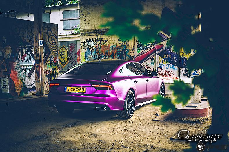 Audi A7 WMR purple grape, Carwrapping door Wrapmyride.nu Foto-nr:13640, ©2021