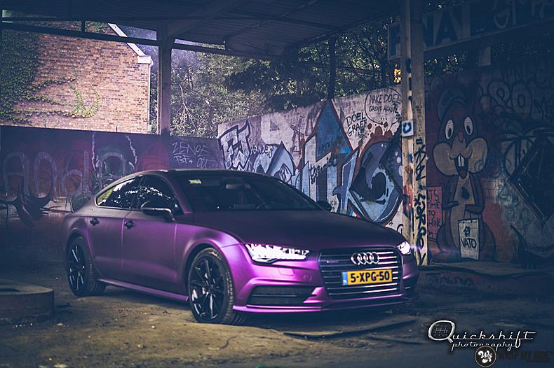 Audi A7 WMR purple grape, Carwrapping door Wrapmyride.nu Foto-nr:13642, ©2021