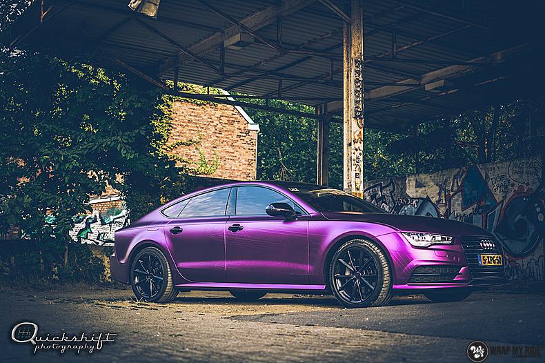 Audi A7 WMR purple grape, Carwrapping door Wrapmyride.nu Foto-nr:13643, ©2021