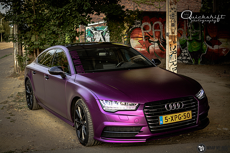 Audi A7 WMR purple grape, Carwrapping door Wrapmyride.nu Foto-nr:13645, ©2021