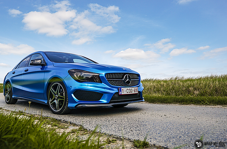 Mercedes CLA Matte Bleu Chrome, Carwrapping door Wrapmyride.nu Foto-nr:13750, ©2021
