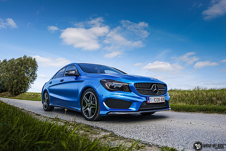 Mercedes CLA Matte Bleu Chrome, Carwrapping door Wrapmyride.nu Foto-nr:13752, ©2021