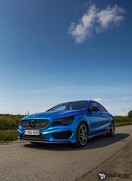 Mercedes CLA Matte Bleu Chrome, Carwrapping door Wrapmyride.nu Foto-nr:13757, ©2021