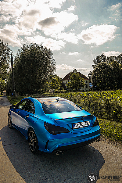 Mercedes CLA Matte Bleu Chrome, Carwrapping door Wrapmyride.nu Foto-nr:13758, ©2021