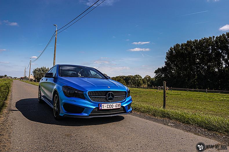 Mercedes CLA Matte Bleu Chrome, Carwrapping door Wrapmyride.nu Foto-nr:13764, ©2021