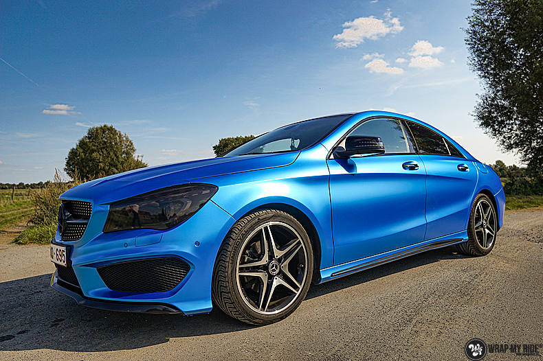 Mercedes CLA Matte Bleu Chrome, Carwrapping door Wrapmyride.nu Foto-nr:13786, ©2021