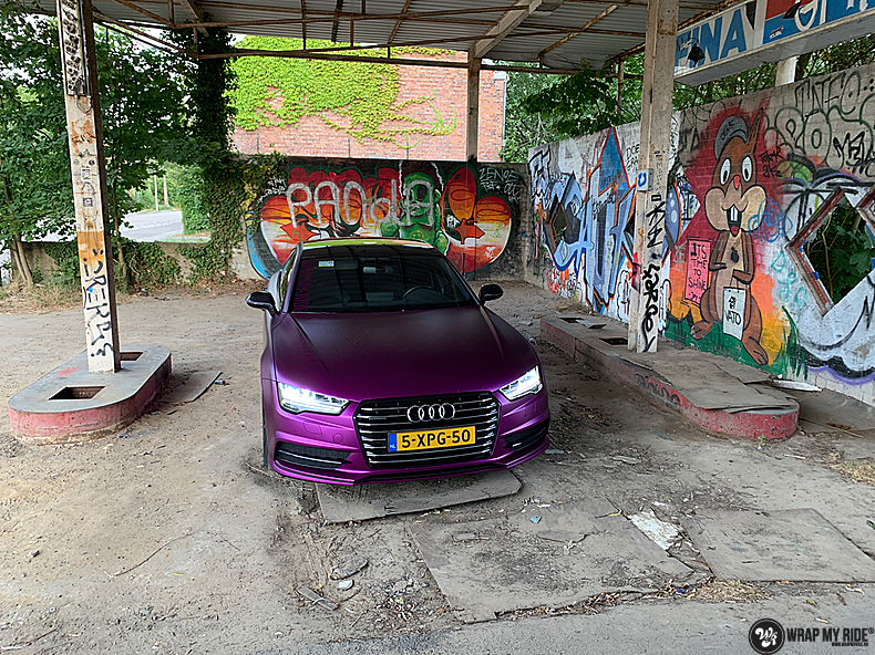 Audi A7 WMR purple grape, Carwrapping door Wrapmyride.nu Foto-nr:13669, ©2021