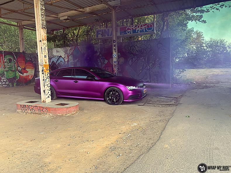 Audi A7 WMR purple grape, Carwrapping door Wrapmyride.nu Foto-nr:13662, ©2021
