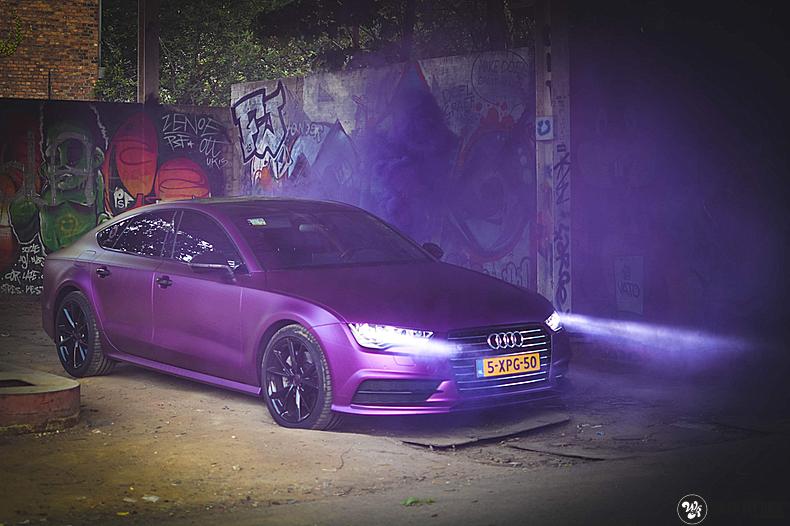 Audi A7 WMR purple grape, Carwrapping door Wrapmyride.nu Foto-nr:13647, ©2021