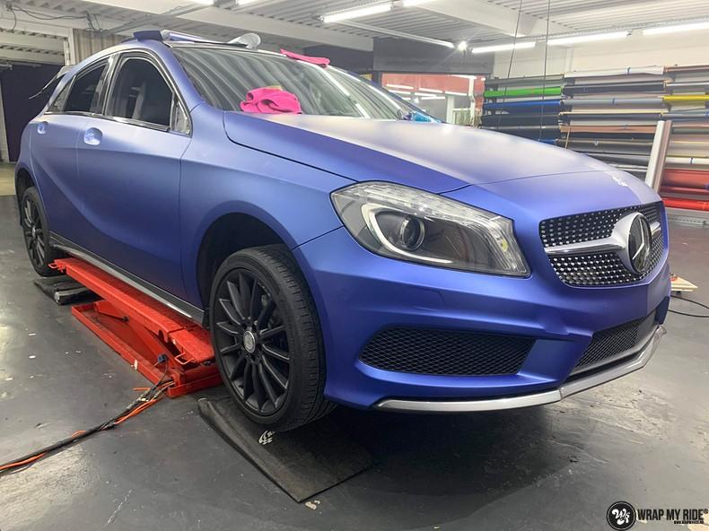 Mercedes A-klasse matte slate bleu, Carwrapping door Wrapmyride.nu Foto-nr:13313, ©2021