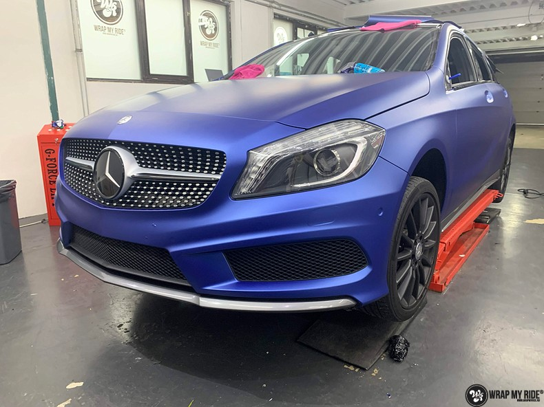 Mercedes A-klasse matte slate bleu, Carwrapping door Wrapmyride.nu Foto-nr:13312, ©2021