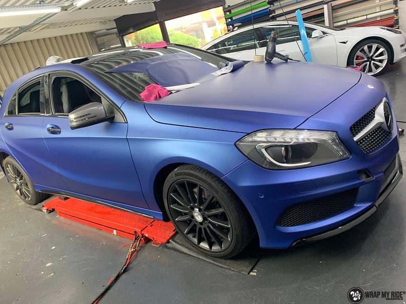 Mercedes A-klasse matte slate bleu, Carwrapping door Wrapmyride.nu Foto-nr:13306, ©2021