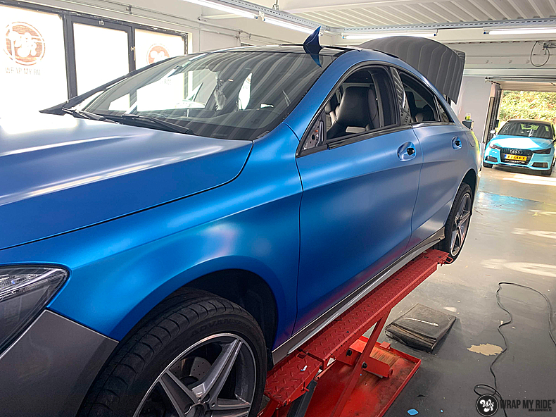 Mercedes CLA Matte Bleu Chrome, Carwrapping door Wrapmyride.nu Foto-nr:13790, ©2021