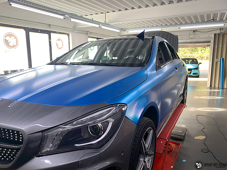 Mercedes CLA Matte Bleu Chrome, Carwrapping door Wrapmyride.nu Foto-nr:13791, ©2021