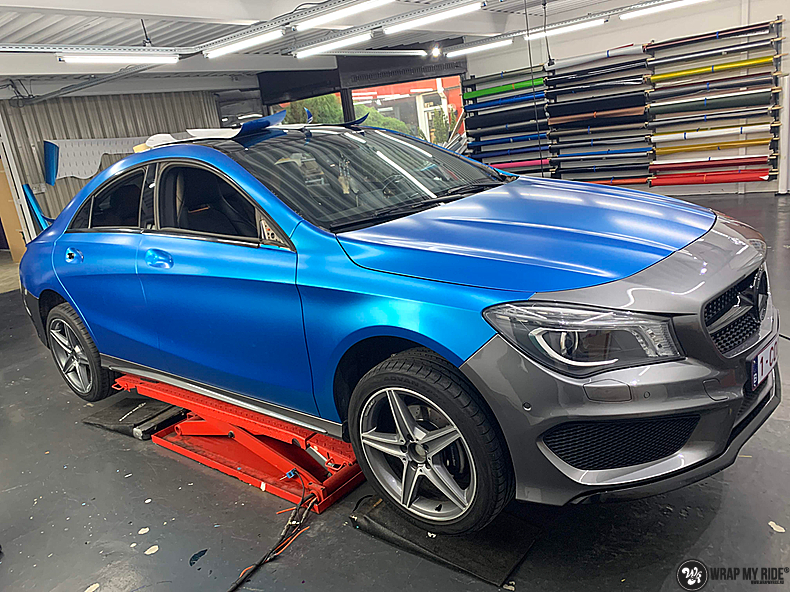 Mercedes CLA Matte Bleu Chrome, Carwrapping door Wrapmyride.nu Foto-nr:13793, ©2021