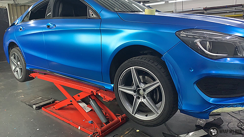 Mercedes CLA Matte Bleu Chrome, Carwrapping door Wrapmyride.nu Foto-nr:13803, ©2021