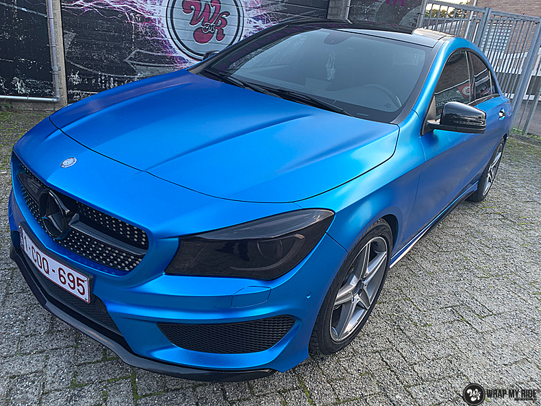 Mercedes CLA Matte Bleu Chrome, Carwrapping door Wrapmyride.nu Foto-nr:13808, ©2021