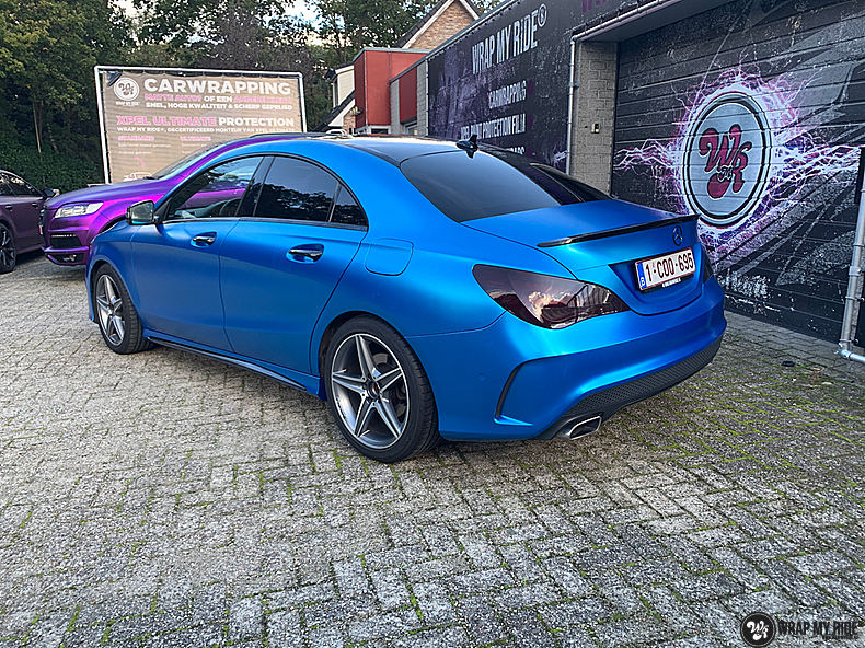 Mercedes CLA Matte Bleu Chrome, Carwrapping door Wrapmyride.nu Foto-nr:13809, ©2021