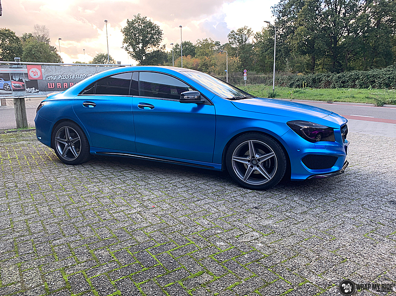 Mercedes CLA Matte Bleu Chrome, Carwrapping door Wrapmyride.nu Foto-nr:13814, ©2021