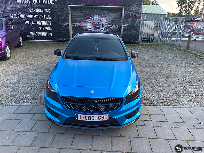 Mercedes CLA Matte Bleu Chrome, Carwrapping door Wrapmyride.nu Foto-nr:13820, ©2021