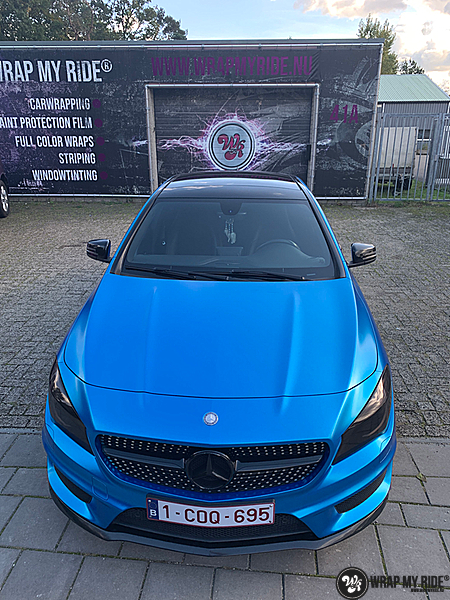 Mercedes CLA Matte Bleu Chrome, Carwrapping door Wrapmyride.nu Foto-nr:13821, ©2021