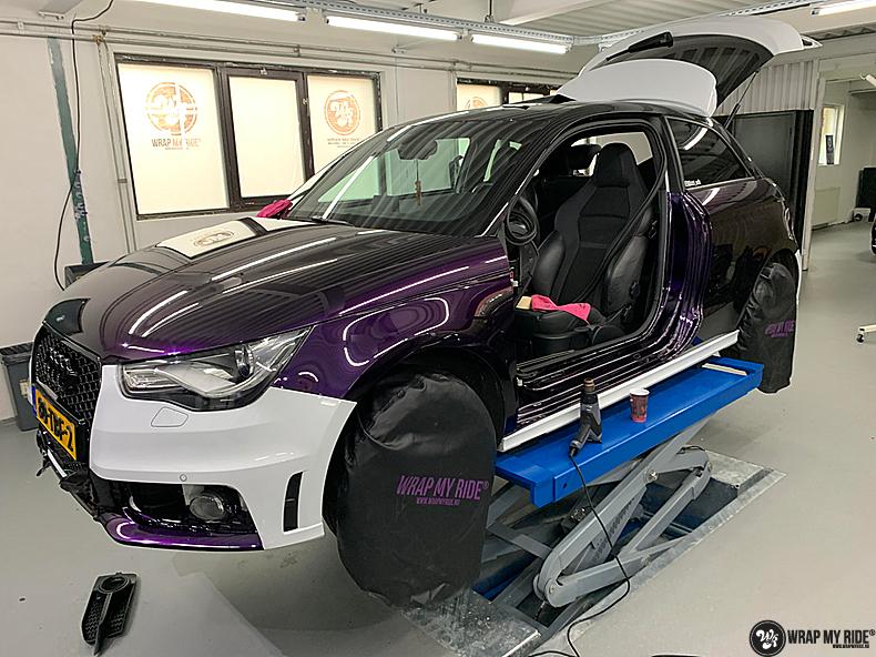 Audi A1 inozotec midnight purple, Carwrapping door Wrapmyride.nu Foto-nr:13706, ©2021