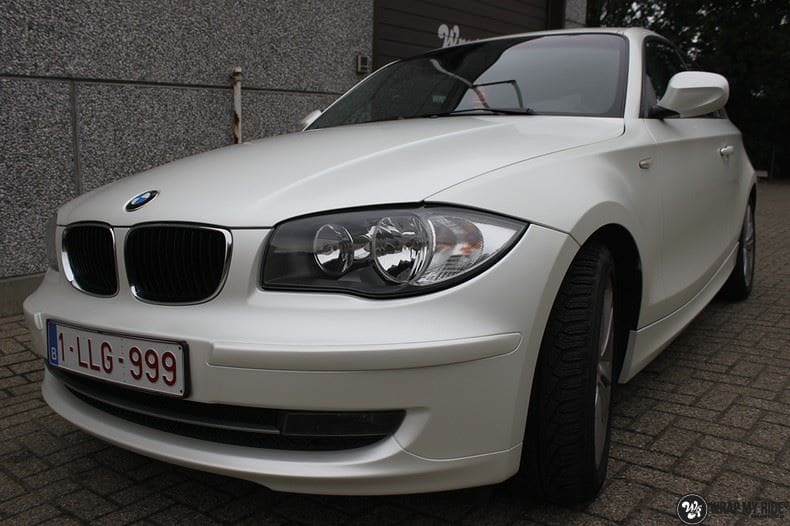 BMW 1-serie 3M Satin Pearl White, Carwrapping door Wrapmyride.nu Foto-nr:9047, ©2021