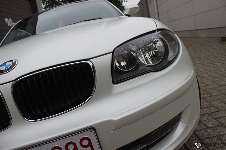 BMW 1-serie 3M Satin Pearl White, Carwrapping door Wrapmyride.nu Foto-nr:9045, ©2021