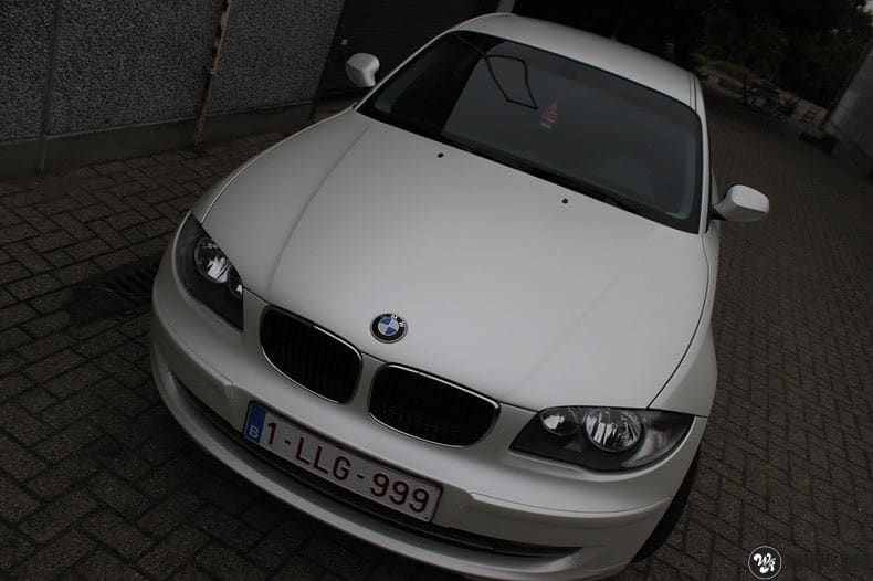 BMW 1-serie 3M Satin Pearl White, Carwrapping door Wrapmyride.nu Foto-nr:9044, ©2021