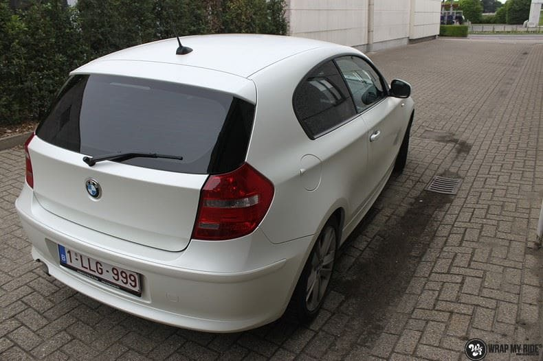 BMW 1-serie 3M Satin Pearl White, Carwrapping door Wrapmyride.nu Foto-nr:9042, ©2021