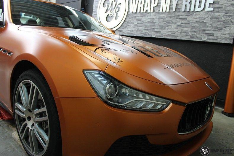 Maserati ghibli satin canyon copper, Carwrapping door Wrapmyride.nu Foto-nr:11581, ©2021