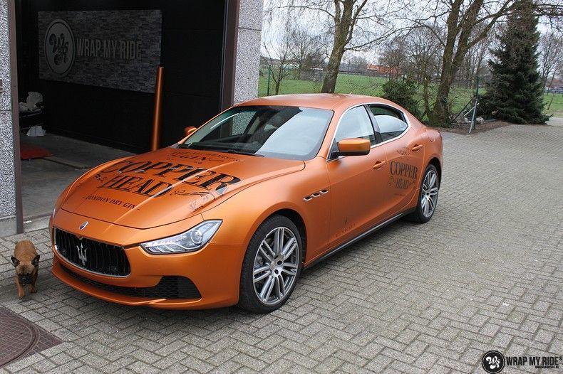 Maserati ghibli satin canyon copper, Carwrapping door Wrapmyride.nu Foto-nr:11596, ©2021