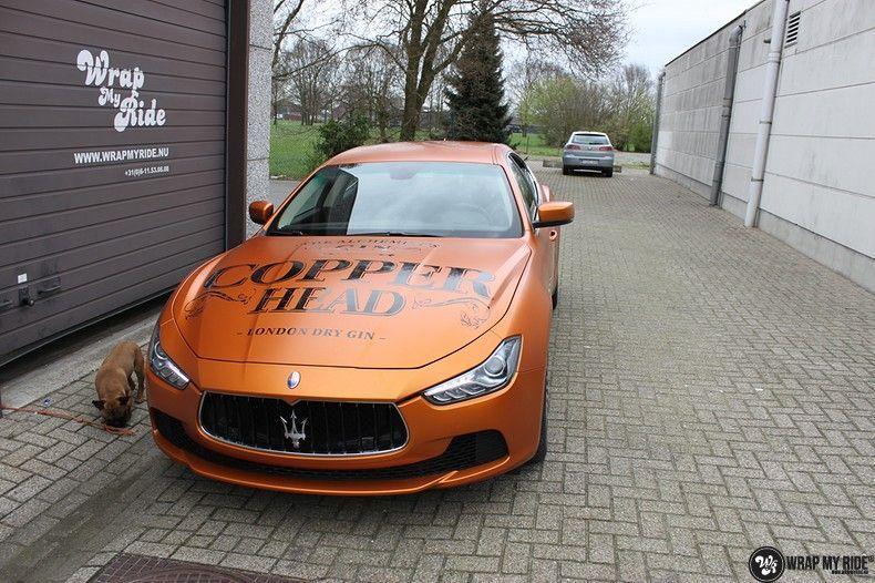 Maserati ghibli satin canyon copper, Carwrapping door Wrapmyride.nu Foto-nr:11597, ©2021