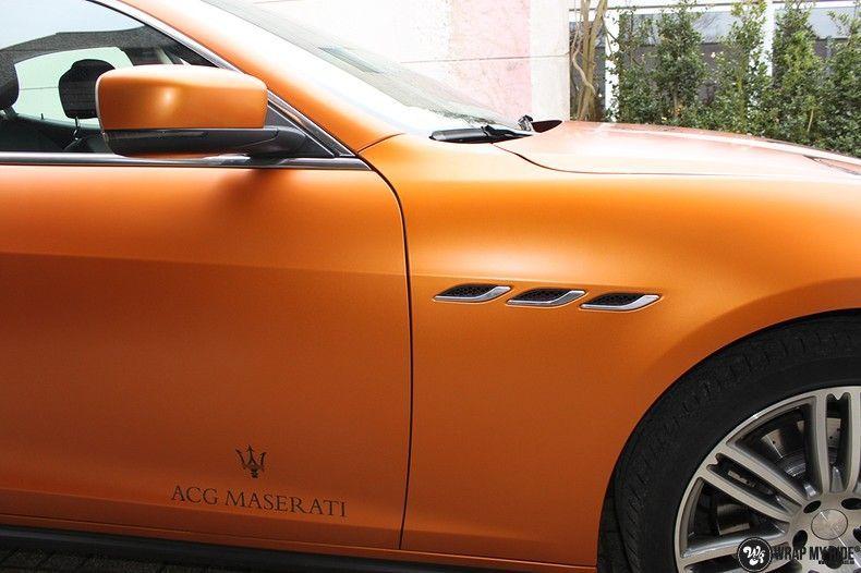Maserati ghibli satin canyon copper, Carwrapping door Wrapmyride.nu Foto-nr:11601, ©2021