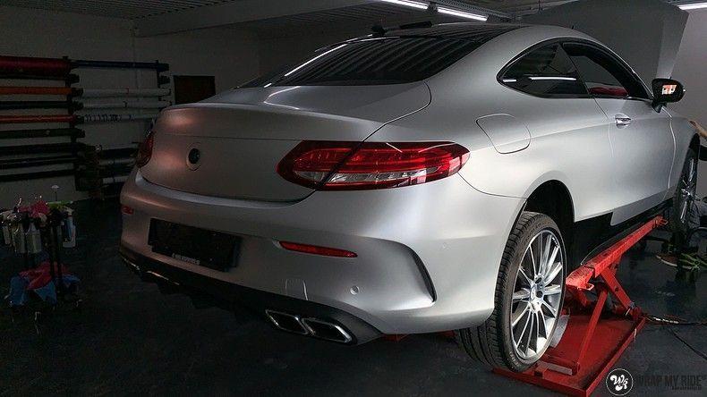 Mercedes C-coupe satin white aluminium, Carwrapping door Wrapmyride.nu Foto-nr:12702, ©2021