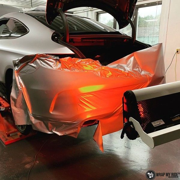 Mercedes C-coupe satin white aluminium, Carwrapping door Wrapmyride.nu Foto-nr:12707, ©2021