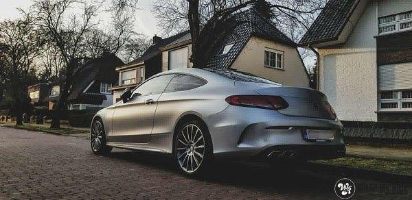 Mercedes C-coupe satin white aluminium, Carwrapping door Wrapmyride.nu Foto-nr:12709, ©2021