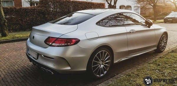 Mercedes C-coupe satin white aluminium, Carwrapping door Wrapmyride.nu Foto-nr:12711, ©2021