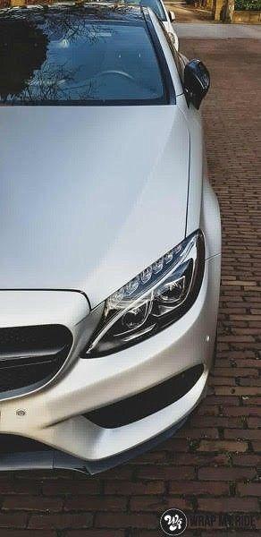 Mercedes C-coupe satin white aluminium, Carwrapping door Wrapmyride.nu Foto-nr:12712, ©2021