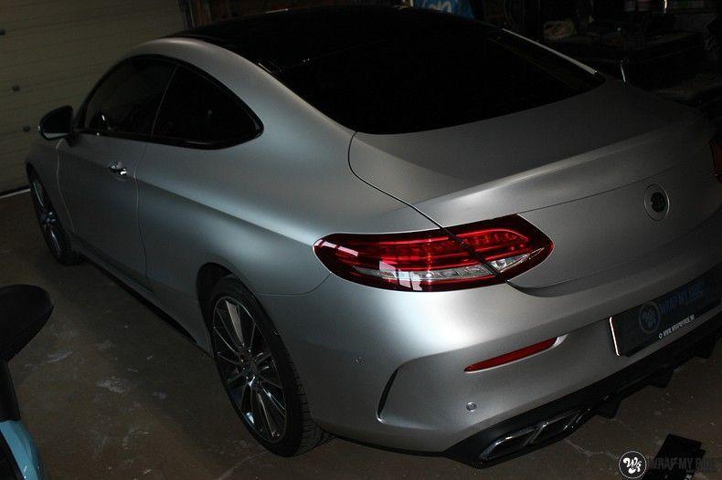 Mercedes C-coupe satin white aluminium, Carwrapping door Wrapmyride.nu Foto-nr:12723, ©2021