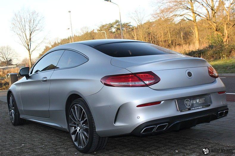 Mercedes C-coupe satin white aluminium, Carwrapping door Wrapmyride.nu Foto-nr:12728, ©2021