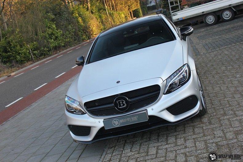Mercedes C-coupe satin white aluminium, Carwrapping door Wrapmyride.nu Foto-nr:12731, ©2021