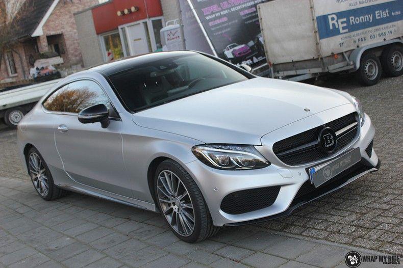 Mercedes C-coupe satin white aluminium, Carwrapping door Wrapmyride.nu Foto-nr:12733, ©2021