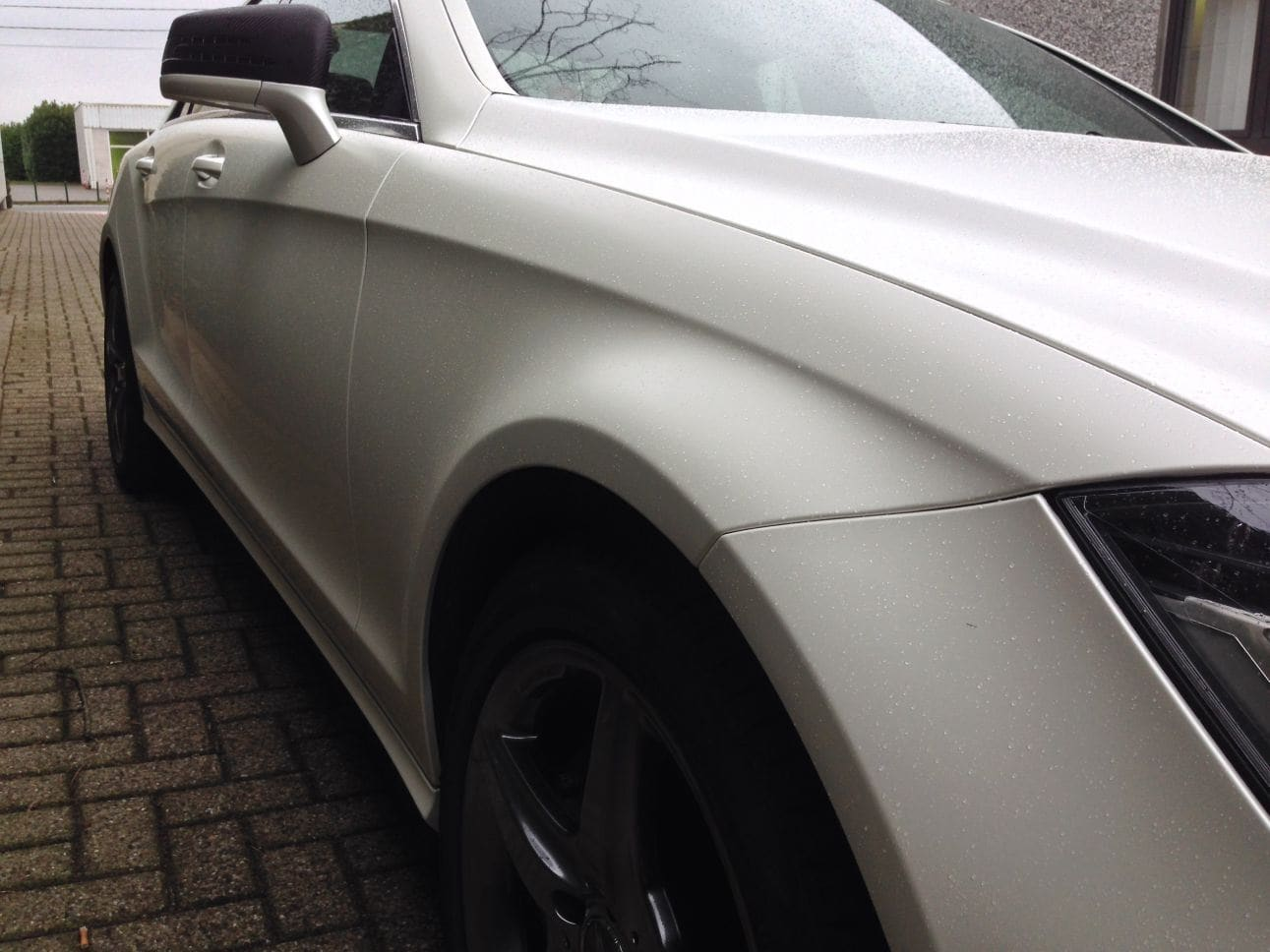 Mercedes CLS met White Satin Pearl Wrap, Carwrapping door Wrapmyride.nu Foto-nr:6209, ©2021