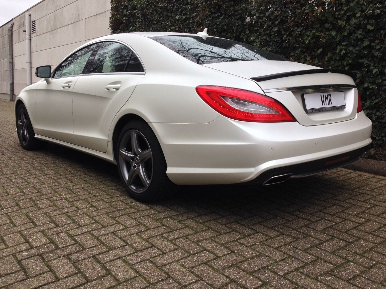 Mercedes CLS met White Satin Pearl Wrap, Carwrapping door Wrapmyride.nu Foto-nr:6216, ©2021