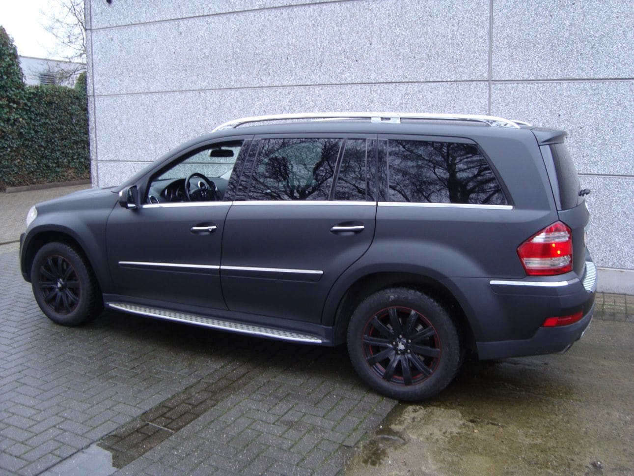 Mercedes GL met Mat Zwarte Wrap, Carwrapping door Wrapmyride.nu Foto-nr:6281, ©2021