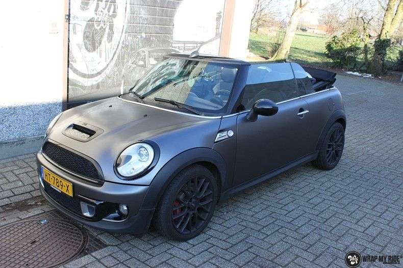 Mini cooper S cabrio Satin Dark Grey, Carwrapping door Wrapmyride.nu Foto-nr:10713, ©2021