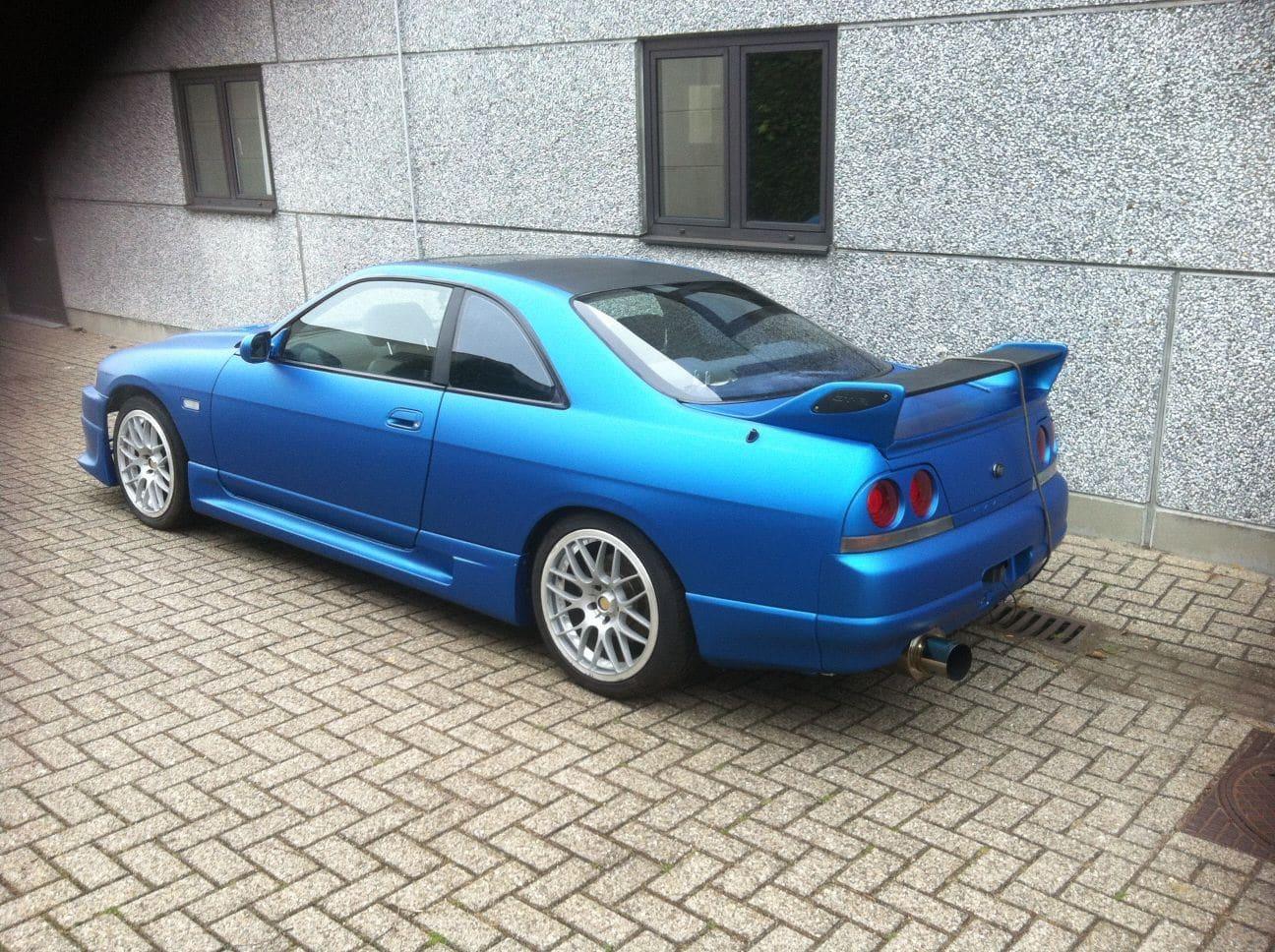 Nissan Skyline met Mat Blauwe Wrap, Carwrapping door Wrapmyride.nu Foto-nr:6604, ©2021